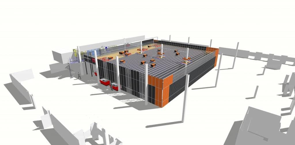 3D-Visualisierung der AutoStore-Anlage von Hatstore