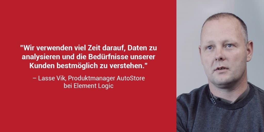 """Ein roter Kasten mit einem Porträtfoto von Lasse Vik und dem Zitat """"Wir verwenden viel Zeit darauf, Daten zu analysieren und die Bedürfnisse unserer Kunden bestmöglich zu verstehen."""""""